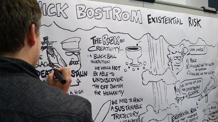 Chris Shipton graphic recording at TEDx Oxford - Nick Bostrom