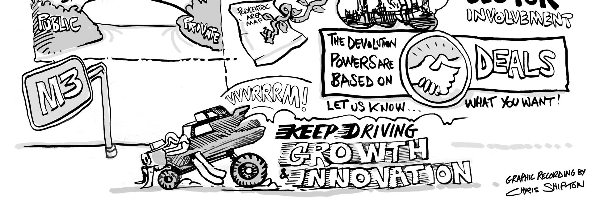 A detail from a Graphic Recording showing the Giga Horse Driving Growth